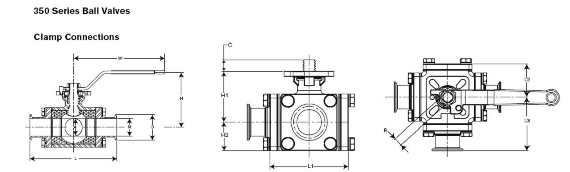Waukesha 3-Way Manual Ball Valves