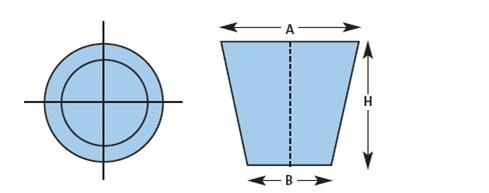 A: Top diameter, B: Bottom diameter; H: Height